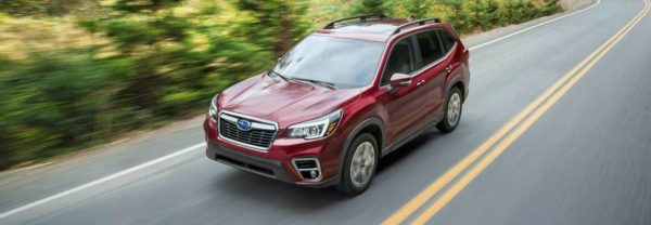 A 2019 Subaru Forester driving down a road