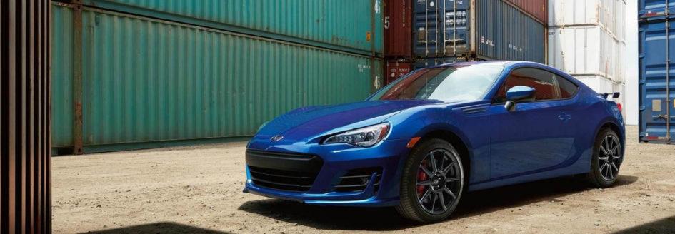 Blue 2019 Subaru BRZ parked in freight yard