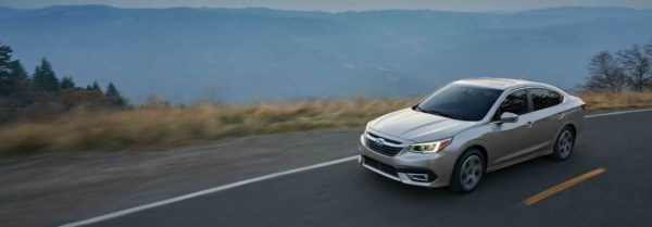 2020 subaru legacy driving through the mountains